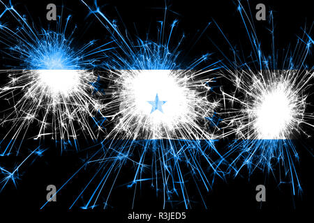 Honduras fireworks sparkling flag. New Year, Christmas and National day concept - Stock Photo