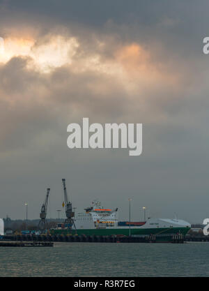 the royal fleet auxiliary ship hurst point in dock or harbour at the marchwood military port on Southampton water, Southampton docks, uk. - Stock Photo