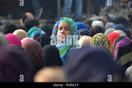 People attend the funeral of Azad Ahmad Malik alias Dada in Arwani Area of Kulgam district, Indian Administered Kashmir, some 70 kilometers away from Srinagar on 23 November 2018 Malik was killed in Shalgund village of Dashnipora in Bijbehara area of south Kashmir's Anantnag district on Friday. The slain Rebels have been identified as Azad Ahmad Malik alias Dada of Arwani, Basit Mir of Khanabal, Unais/ Anees of Takyibal, Bijbehara, Aqib of Waghama Bijbehara, Shahid from Awantipora and Firdaus Ahmad of Machpona Pulwama. (Photo by Muzamil Mattoo/Pacific Press) - Stock Photo