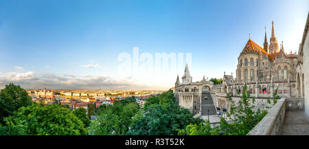 Hungary, Budapest, View from Fishermans Bastion, panoramic view - Stock Photo