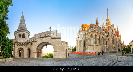 Hungary, Budapest, Fishermans Bastion, panoramic view - Stock Photo