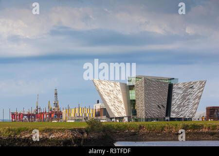 UK, Northern Ireland, Belfast Docklands, Exterior of Titanic Belfast Museum - Stock Photo