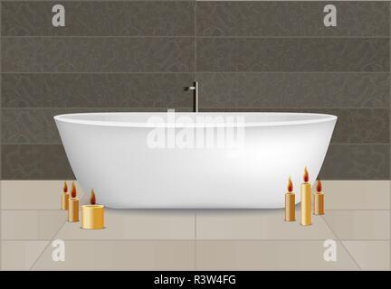 White bathtub concept background. Realistic illustration of white bathtub vector concept background for web design - Stock Photo
