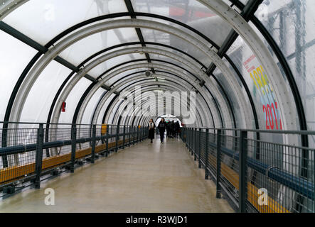 Renzo Piano designed the Centre national d'art et de culture Georges-Pompidou in Paris, with outside walkways to shelter visitors from wind and rain. - Stock Photo