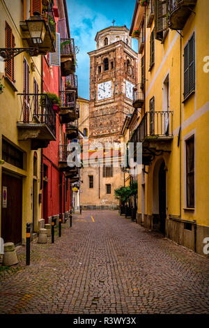 Italy Piedmont Cuneo Old City - View wit cathedral bell tower in via Saluzzo - Stock Photo