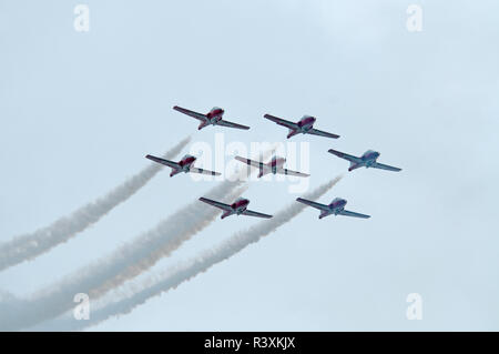 The 431 Air Demonstration Squadron of th Royal Canadian Airforce during a practice training day at their home base at - Stock Photo