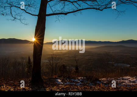 Sunrise from Mount Prospect in Weeks State Park in Lancaster, New Hampshire. - Stock Photo