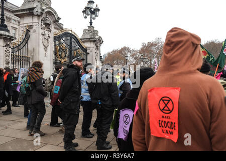 London, UK. 24th November 2018: Hundreds of climate change activists from Extinction Rebellion gather outside Buckingham Palace part of an ongoing campaign of civil disobedience to highlight the urgency of action on climate change. Credit: Claire Doherty/Alamy Live News - Stock Photo