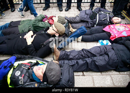 London, UK. 24th Nov 2018. Climate Change protest, Extinction Rebellion Day Two, Central London. Environmental and climate Protesters gathered on Parliament Square for a Rebellion Day number two. Speeches, songs and poems were read out by activists, among those speaking was a rabbi and a climate change lawyer. Protesters attempted to dig a grave, which was halted by strong-arm police tactics. Protesters then marched to Buckingham Palace, where a coffin was placed at the gates, and Protesters were invited to lay wreaths and lists of endangered animals. Credit: Natasha Quarmby/Alamy Live News - Stock Photo