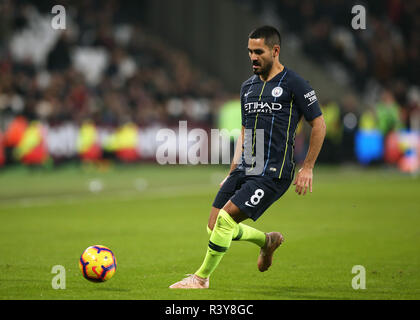 London Stadium, London, UK. 24th Nov, 2018. EPL Premier League football, West Ham United versus Manchester City; Ilkay Gundogan of Manchester City Credit: Action Plus Sports/Alamy Live News - Stock Photo