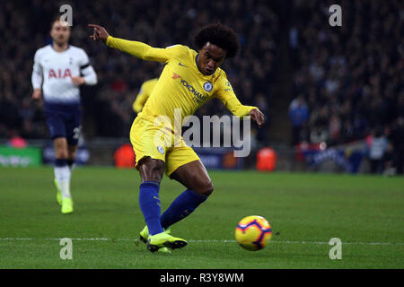 London, UK. 24th Nov 2018. Willian of Chelsea takes a shot at goal. EPL Premier League match, Tottenham Hotspur v Chelsea at Wembley Stadium in London on Saturday 24th November 2018.  this image may only be used for Editorial purposes. Editorial use only, license required for commercial use. No use in betting, games or a single club/league/player publications . pic by Steffan Bowen/Andrew Orchard sports photography/Alamy Live news - Stock Photo