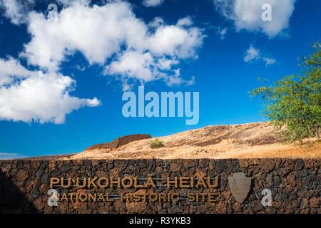 Pu'ukohola Heiau National Historic Site, Kohala Coast, Big Island, Hawaii, USA - Stock Photo