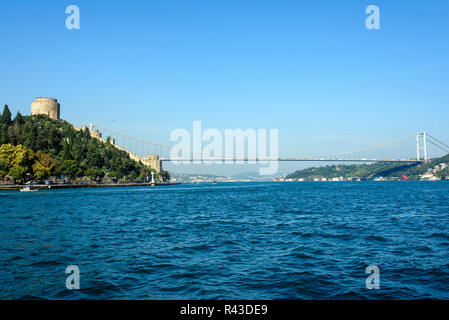 the bosphorus and the rumelian fortress in istanbul - Stock Photo