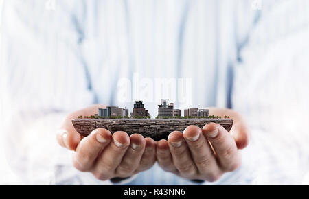 Concept of construction and engineering presented by city design - Stock Photo