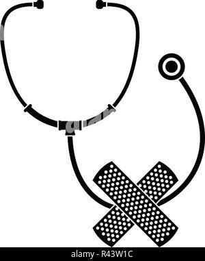 Stethoscope, cross bandage icon. Simple illustration of stethoscope, cross bandage vector icon for web design isolated on white background - Stock Photo