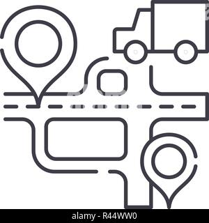 Route navigation line icon concept. Route navigation vector linear illustration, symbol, sign - Stock Photo