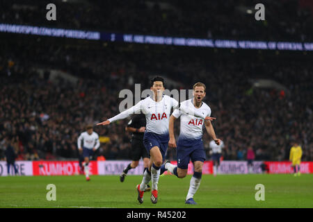 London, UK. 24th November 2018. Son Heung-Min of Tottenham Hotspur celebrates after scoring his sides third goal, putting them 3-0 ahead - Tottenham Hotspur v Chelsea, Premier League, Wembley Stadium, London (Wembley) - 24th November 2018  Editorial Use Only - DataCo restrictions apply Credit: MatchDay Images Limited/Alamy Live News - Stock Photo