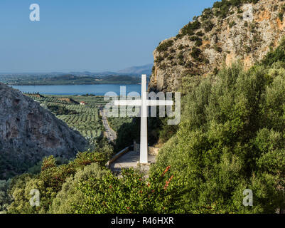 Santa Eleousa church in the countryside of western Greece. Typical Byzantine religious architecture. A very scenic place to visit. - Stock Photo