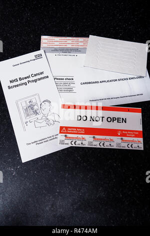 The Full Bowel Cancer home testing kit.Do Not Open. - Stock Photo