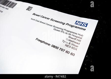 NHS Bowel Cancer Programme letterhead - Stock Photo