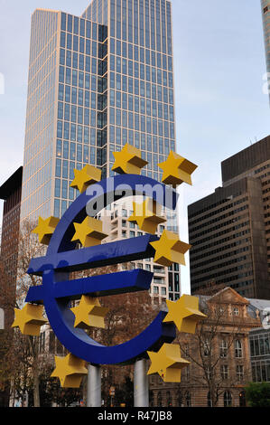 euro symbol in front of the ecb in frankfurt - Stock Photo