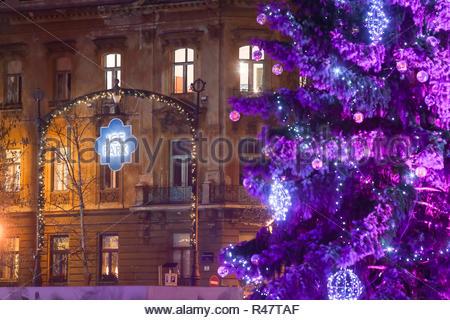 Purple Christmas tree in Zagreb - Stock Photo