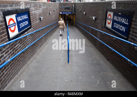 Tube commuters time, Underground entrance ramp to Vauxhall Tube Station - Stock Photo
