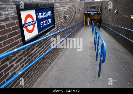 Underground entrance ramp to Vauxhall Tube Station - Stock Photo