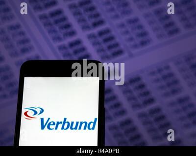 Kiev, Ukraine. 26th Nov, 2018. Verbund Company logo seen displayed on smart phone. Credit: Igor Golovniov/SOPA Images/ZUMA Wire/Alamy Live News - Stock Photo
