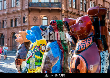 Colorful bears at United Buddy Bears international art exhibition. Circle of Bears was created to make people think about tolerance. - Stock Photo