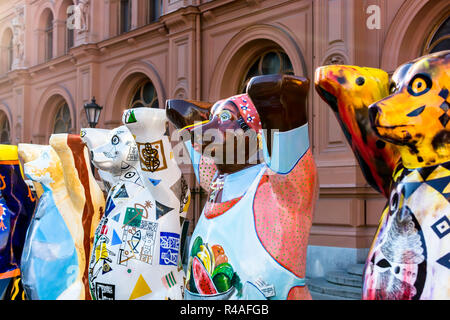 Two metre tall fiberglass bears at United Buddy Bears exhibition. Circle of Bears was created to make people think about tolerance. - Stock Photo