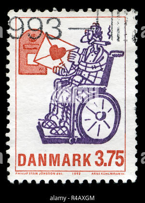 Postmarked stamp from Denmark in the Cartoon Characters series issued in - Stock Photo
