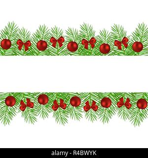 Banner of Christmas trees decorated with balls and bows - Stock Photo