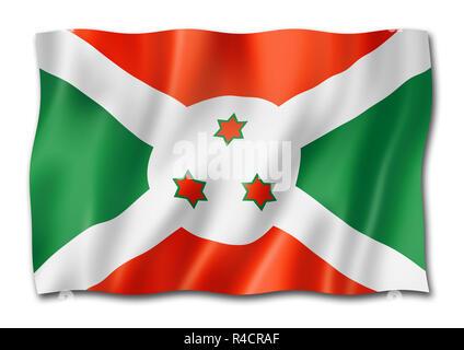 Burundi flag, three dimensional render, isolated on white - Stock Photo