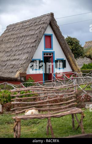 Santana, Madeira, Portugal - April 20, 2018: : Traditional rural house in Santana on Madeira island, Portugal - Stock Photo
