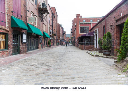 Portland, Maine, USA - August 10, 2009: Cobblestones and restaurants along Wharf St. in downtown Portland, Maine - Stock Photo