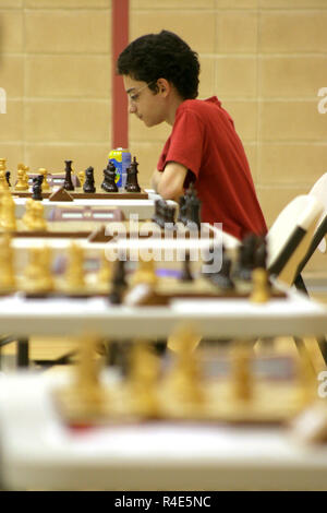 Fabiano Caruana who plays in the London World Chess Championship 2018. The image shows Caruana playing chess in Andorra Chess Open 2006 (July 11 2006). Born July 30 1992, he was 13 years, 11 months and 11 days old. One year later (at the age of 14 years, 11 months and 20 days), he became the youngest grandmaster in the history of both Italy and the United States (at the time). Credit: Joan Pla Vivoles/Alamy Live News - Stock Photo