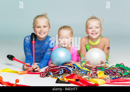 Happy children with medals - Stock Photo
