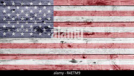american flag painted on wooden texture - Stock Photo