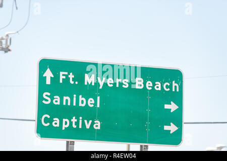Fort Myers, USA city town street road sign information direction on highway in Florida gulf of mexico coast, with ft meyers beach, sanibel and captiva - Stock Photo