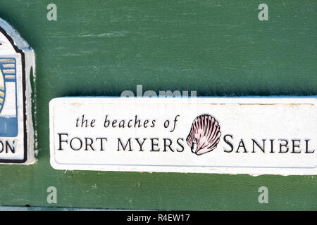 Sanibel Island, USA - April 29, 2018: Welcome sign in park by Bowman's beach near Fort Myers, Florida, shell symbol - Stock Photo