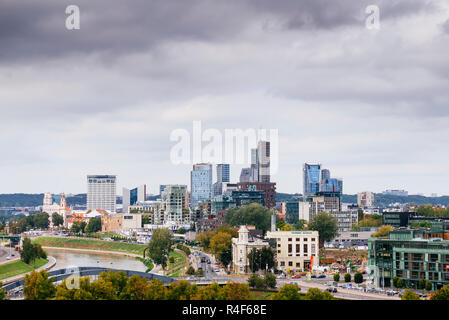 View of the modern Vilnius from Gediminas Tower. Vilnius, Vilnius County, Lithuania, Baltic states, Europe. - Stock Photo