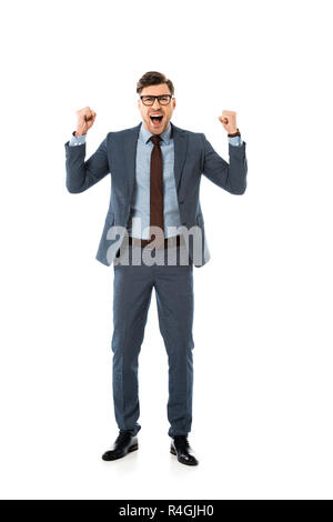 happy businessman in suit rejoicing and gesturing isolated on white - Stock Photo