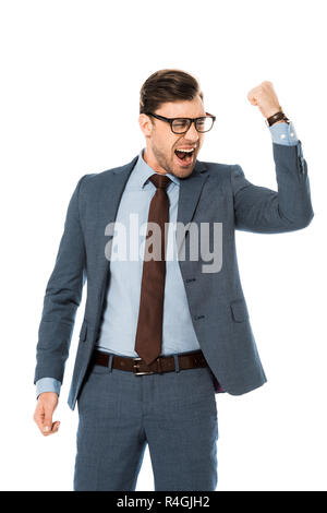 happy businessman in glasses rejoicing and gesturing isolated on white - Stock Photo