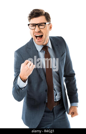 successful businessman in suit rejoicing and gesturing isolated on white - Stock Photo