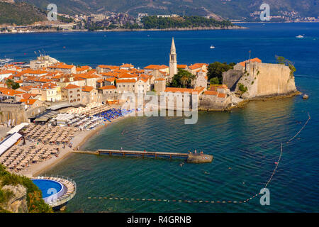 Old town with city beach, Budva, Adriatic coast, Montenegro - Stock Photo
