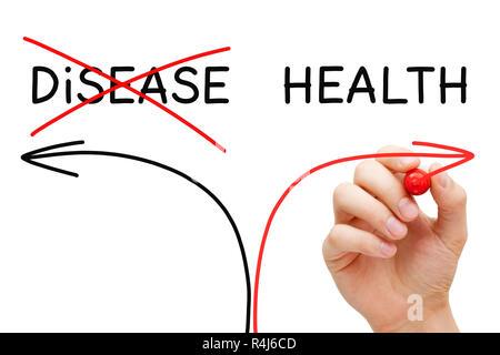 Health Or Disease Arrows Concept - Stock Photo