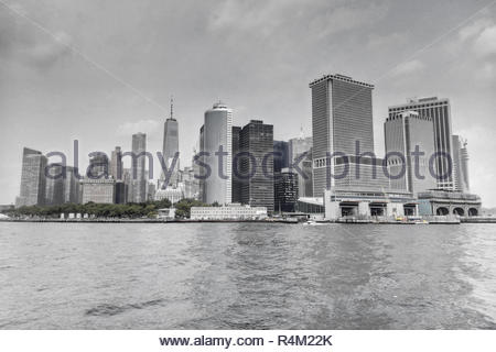 Black and White photo of the downtown NYC Skyline - Stock Photo