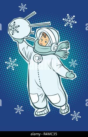 Little boy astronaut. Space satellite sputnik in hands. Winter snowfall. Comic cartoon pop art retro vector illustration drawing - Stock Photo