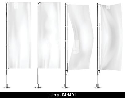 White textile banner flags. Banner flag mockups set. Set of vector advertising mockups. - Stock Photo